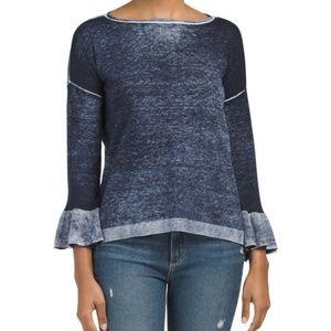 Space Dye Bell Sleeve Lightweight Sweater
